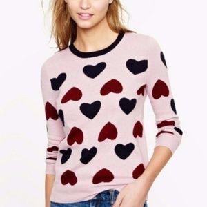 J Crew Heartbreaker Heart Print Pink Sweater